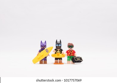 MALAYSIA, jan 21, 2018. batman, bat women and robin going on vacation. Lego minifigures are manufactured by The Lego Group.