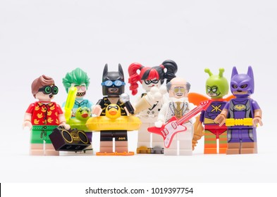 MALAYSIA, jan 21, 2018. Batman and others mini figures character from batman series 2. Lego minifigures are manufactured by The Lego Group.