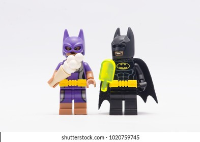 MALAYSIA, jan 21, 2018. batman and bat women holding ice cream. Lego minifigures are manufactured by The Lego Group.