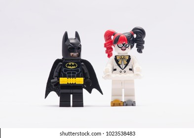 MALAYSIA, jan 21, 2018. batman and harley quinn. Lego minifigures are manufactured by The Lego Group.