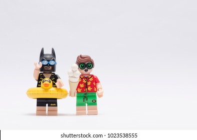 MALAYSIA, jan 21, 2018.  batman and robin on vacation. Lego minifigures are manufactured by The Lego Group.