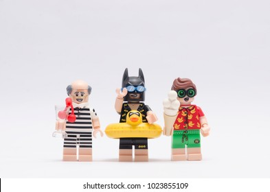 MALAYSIA, jan 21, 2018.  batman, alfred and robin on vacation. Lego minifigures are manufactured by The Lego Group.