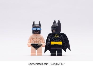 MALAYSIA, jan 21, 2018.  batman and beach batman . Lego mini figures are manufactured by The Lego Group.