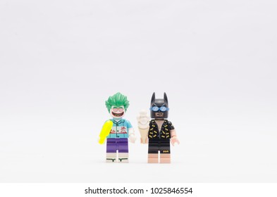 MALAYSIA, jan 21, 2018. batman and joker holding ice cream . Lego minifigures are manufactured by The Lego Group.