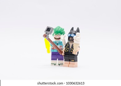 MALAYSIA, jan 21, 2018. batman and joker taking selfie together. Lego minifigures are manufactured by The Lego Group.