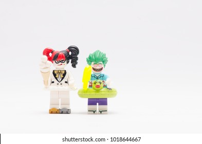 MALAYSIA, jan 21, 2018. beach joker and harley quinn. Lego minifigures are manufactured by The Lego Group.
