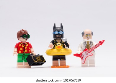 MALAYSIA, jan 21, 2018. beach robin, batman and disco alfred . Lego minifigures are manufactured by The Lego Group.