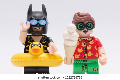 MALAYSIA, jan 21, 2018. closeup vacation batman and robin. Lego minifigures are manufactured by The Lego Group.