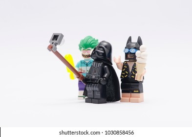 MALAYSIA, jan 21, 2018. darth vader taking photo with batman and joker. Lego minifigures are manufactured by The Lego Group.