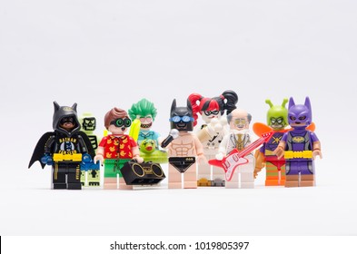 MALAYSIA, jan 21, 2018. joker, beach robin, batman, harley quinn and disco alfred. Lego minifigures are manufactured by The Lego Group.
