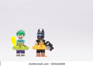 MALAYSIA, jan 21, 2018. vacation batman and beach joker on vacation. Lego minifigures are manufactured by The Lego Group.