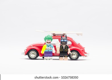 MALAYSIA, jan 21, 2018.batman and joker holding ice cream with volkswagen car. Lego minifigures are manufactured by The Lego Group.