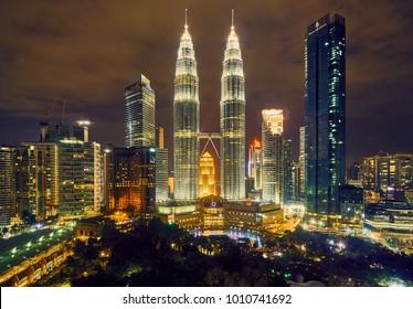 Malaysia - January 13, 2018 : Night panorama of the Petronas Twin Towers