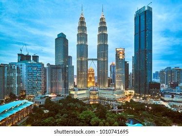 Malaysia - January 13, 2018 : Night panorama of the Petronas Twin Towers