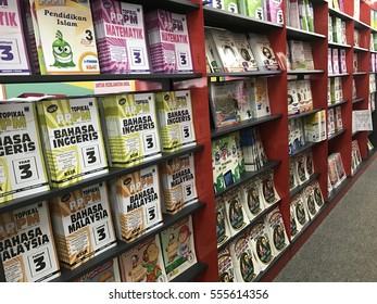 MALAYSIA - JANUARY 14, 2017 :  Interior view of Book shelf at MBS WORLDS BOOK  STORE at Kuantan, PAHANG.