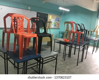 Malaysia, Johor Bahru - April 15 2019 : The atmosphere in the classroom is neatly arranged.