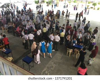 Malaysia, Johor Bahru - April 15 2019 : Students with parents come to school with an open day of school.