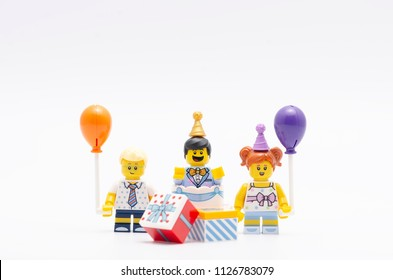 MALAYSIA, jul 01, 2018. lego  minifigure a boy , girl and cake guy series 18. Lego minifigures are manufactured by The Lego Group.