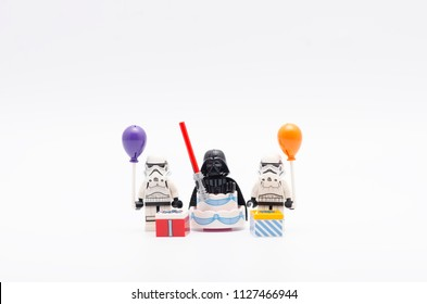 MALAYSIA, jul 01, 2018. lego  darth vader with storm troopers holding a balloon. Lego minifigures are manufactured by The Lego Group.
