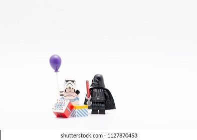 MALAYSIA, jul 01, 2018. lego  darth vader watching storm trooper holding a balloon. Lego minifigures are manufactured by The Lego Group.
