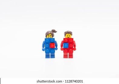 MALAYSIA, jul 01, 2018. lego red and blue brick . Lego minifigures are manufactured by The Lego Group.