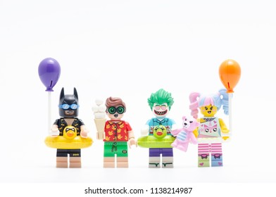 MALAYSIA, jul 15, 2018. vacation batman, robin, joker and n pop girl. Lego minifigures are manufactured by The Lego Group.