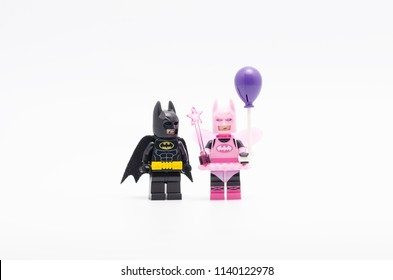 MALAYSIA, jul 19, 2018. batman with fairy batman holding balloon. Lego minifigures are manufactured by The Lego Group.