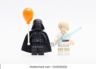 MALAYSIA, jul 19, 2018. darth vader holding balloon with luke skywalker watching him. Lego minifigures are manufactured by The Lego Group.