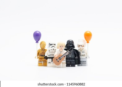 MALAYSIA, jul 19, 2018. Lego luke skywalker holding guitar with rebel army, darth vader and storm trooper. Lego minifigures are manufactured by The Lego Group.