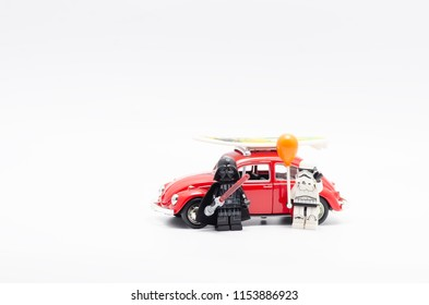 MALAYSIA, jul 19, 2018. Lego darth vader and storm trooper holding balloon with volkswagen. Lego minifigures are manufactured by The Lego Group.