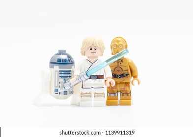 MALAYSIA, jul 19, 2018. luke skywalker with r2d2 and c3po. Lego minifigures are manufactured by The Lego Group.
