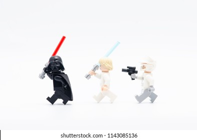 MALAYSIA, jul 19, 2018. luke skywalker and rebel army chasing darth vader. Lego minifigures are manufactured by The Lego Group.