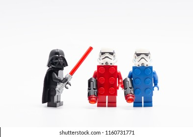 MALAYSIA, jul 30, 2018. Lego darth vader with storm troopers wearing red and blue brick . Lego minifigures are manufactured by The Lego Group.