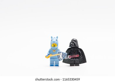 MALAYSIA, jul 30, 2018. Lego Unicorn Knight Guy with darth vader. minifigures are manufactured by The Lego Group.