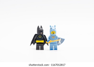 MALAYSIA, jul 30, 2018. Lego Unicorn Knight Guy with batman. minifigures are manufactured by The Lego Group.
