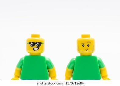 MALAYSIA, jul 30, 2018. Two Lego minifigures - emotion face. Studio shot.