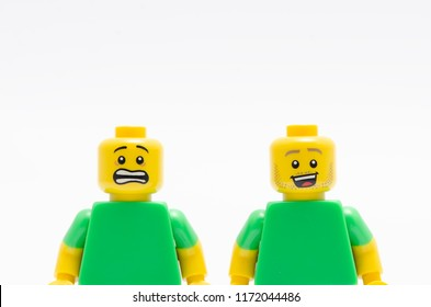 MALAYSIA, jul 30, 2018. Two Lego minifigures - one scared and one happy.  Lego minifigures are manufactured by The Lego Group.