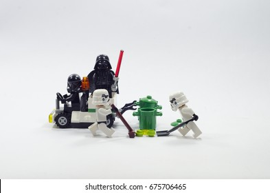Malaysia, july 11, 2017. lego darth vader giving order to storm troopers to clean the site. Lego minifigures are manufactured by The Lego Group.