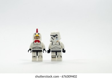 Malaysia, july 11, 2017. lego storm troopers one of them wearing chicken suit helmet. Lego minifigures are manufactured by The Lego Group.