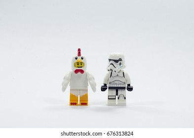 Malaysia, july 11, 2017. lego storm trooper and lego chicken suit guy. Lego minifigures are manufactured by The Lego Group.