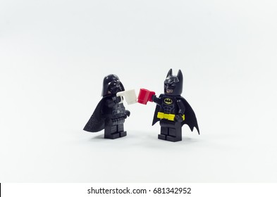 Malaysia, july 19, 2017. lego batman and darth vader having drink together. Lego minifigures are manufactured by The Lego Group.