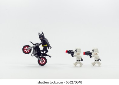 malaysia, july 28, 2017.closeup lego storm troopers chasing batman. Lego minifigures are manufactured by The Lego Group.