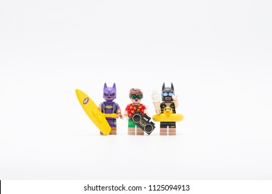 MALAYSIA, jun 28, 2018. batman, bat women and robin going on vacation. Lego minifigures are manufactured by The Lego Group.