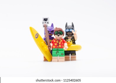 MALAYSIA, jun 28, 2018. batman, bat women and robin taking photo together. Lego minifigures are manufactured by The Lego Group.