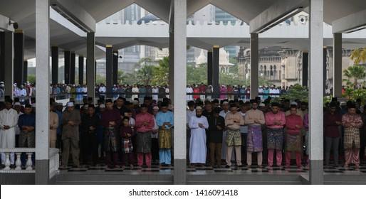 MALAYSIA: Jun 5, 2019 - Malaysian Muslims attend Edi al-Fitr prayers in Kuala Lumpur.