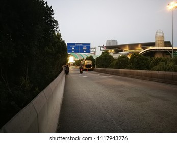 Malaysia - June 22 2018: road to CIQ to go to Singapore. This road taken in early morning.