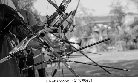 MALAYSIA - JUNE 26, 2019: SAMER's Archery Team line up for official endurance training. Preparation for state Archery Tournament.