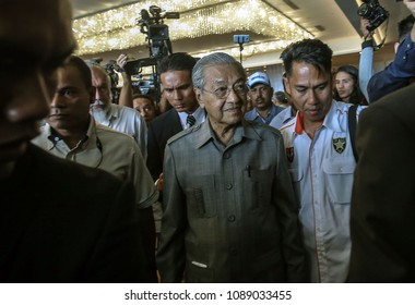 MALAYSIA, KUALA LUMPUR - 1 MAY 2018. In waiting  Prime Minister, Mahathir Mohamad (centre) after press conference before he sworn as Malaysia 7th Prime Minister.