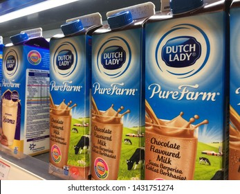 Malaysia, Kuala Lumpur - 21 JUNE 2019 : Chocolate flavored milk under the Duth Lady brand.