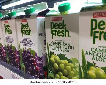 Malaysia, Kuala Lumpur - 21 JUNE 2019 : Blackcurant cranberry juice and aloe vera white wine under Merigold Peel Fresh brand.